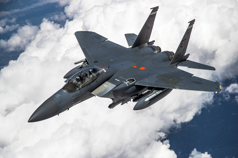 An F-15 from the 40th Flight Test Squadron, 96th Test Wing, out of Eglin Air Force Base, conducts aerial refueling operations above the skies of Northern California, May 14. The aircraft participated in the Northern Edge 21 exercise in Alaska earlier in May.  (Air Force photo by Ethan Wagner)