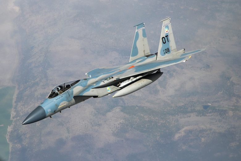 An F-15 from the 85th Test and Evaluation Squadron, 53rd Wing, out of Eglin Air Force Base, Florida, conducts aerial refueling operations above the skies of Northern California, May 14. The aircraft participated in the Northern Edge 21 exercise in Alaska earlier in May. (Air Force photo by Ethan Wagner)