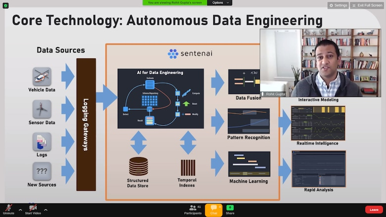 Rohit Gupta, Sentenai co-founder and CEO, presents his pitch during the U.S. Air Force Labs with MassChallenge showcase May 14 on Zoom. The event focused on advancing the 10 startups in the accelerator's second cohort.
