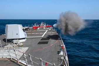 USS Rafael Peralta (DDG 115) conducts a live-fire in the Pacific Ocean.