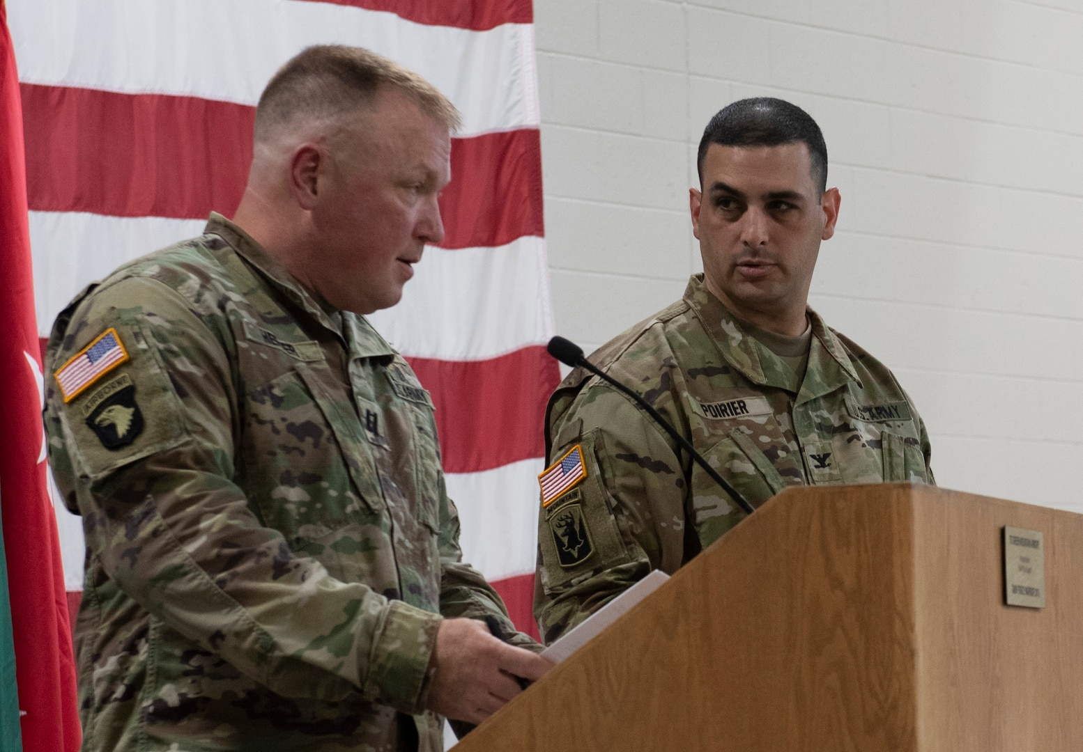 Col. Leonard Poirier (right), officer in charge of Task Force Mansfield, and Capt. Mathew Hefner, an administrative officer in the Vermont National Guard's operations directorate, review a rehearsal for Task Force Mansfield's sendoff ceremony May 18, 2021, at Camp Johnson, Vermont. Approximately 50 guests attended the ceremony, the last one of several that have seen the deployment of more than 1,000 Vermont National Guard Soldiers. (U.S. Army National Guard photo by Don Branum)