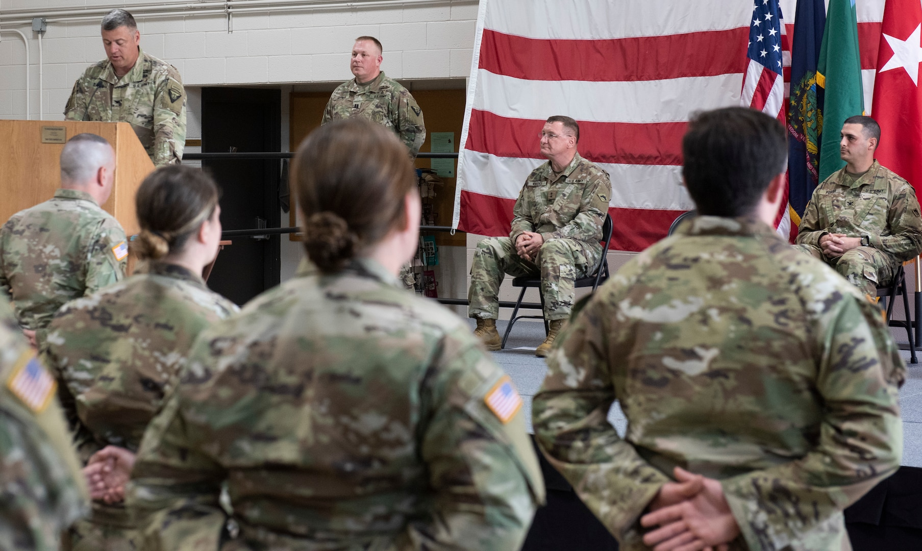 Col. Justin Davis, director operations for the Vermont Army National Guard, delivers remarks at the sendoff ceremony for Task Force Mansfield at Camp Johnson, Vermont, May 18, 2021. The Soldiers in Task Force Mansfield are among the last of more than 1,000 slated to deploy to Europe and the Middle East in support of federal missions. (U.S. Army National Guard photo by Don Branum)