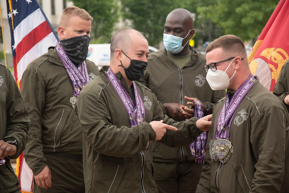 Wounded, ill and injured Marines participate in a closing ceremony for the 11th annual Marine Corps Trials.