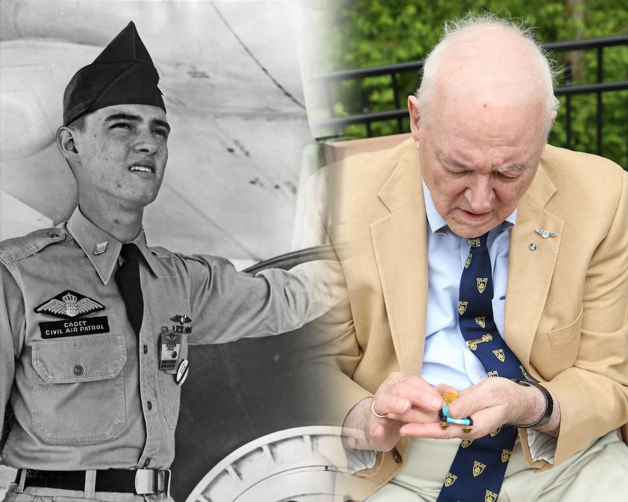A photo on the left shows a young man touching an airplane; on the right is an older man looking down at a medal in his hand.