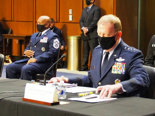 Photo of Lt. Gen. Richard Scobee, chief of the Air Force Reserve, and his counterparts from the Marines, Army, Navy and National Guard testified before the Senate Appropriations Committee's Subcommittee on Defense during a hearing May 18.(Courtesy photo)