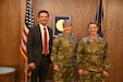 The Utah Army National Guard Chaplain Corps inducted two officers, including the first female chaplain candidate in the organization, during a commissioning ceremony at Draper, Utah, May 12, 2021. From left, Chaplain candidate Brent Black, Brig. Gen. Charlene Dalto, commander, Utah Army National Guard Land Component Command, and chaplain candidate 2nd Lt. Mindy Butler. (U.S. Army National Guard photo by Sgt. 1st Class John Etheridge)