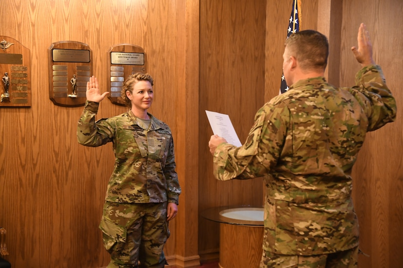 Soldier takes oath of office