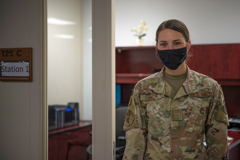Airman 1st Class Jina Smith, 81st Force Support Squadron customer support apprentice, poses for a photo inside the Sablich Center at Keesler Air Force Base, Mississippi, May 19, 2020. Smith went through basic military training during the height of the COVID-19 pandemic. (U.S. Air Force photo by Senior Airman Kimberly L. Mueller)