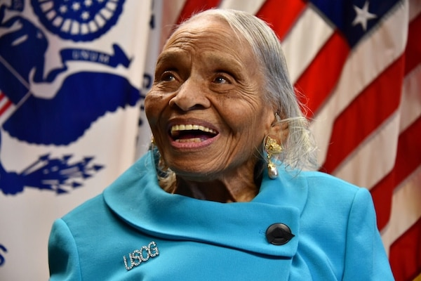 Dr. Olivia Hooker before a ceremony to name the galley at Coast Guard Sector New York in her honor March 12, 2015. Hooker was the first African-American female to join the Coast Guard