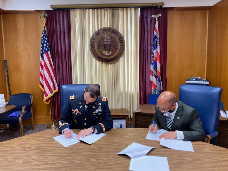 Vicksburg, Miss. - The U.S. Army Corps of Engineers Vicksburg District entered into Project Partnership Agreement (PPA) with the City of McComb, Mississippi, May 19 as part of the Mississippi Environmental Infrastructure Program (Section 592).   The City of McComb's sanitary sewer and utility improvements will be rehabilitated at a cost of $1 million. The project will include the design and construction of a project to remove and replace collapsing, deteriorating sanitary sewer manholes, sewer mains, sewer services, adjacent water mains and stormwater drainage all affected by deterioration of sewer system. These cost share agreements will be 75% federally funded and 25% non-federally funded.