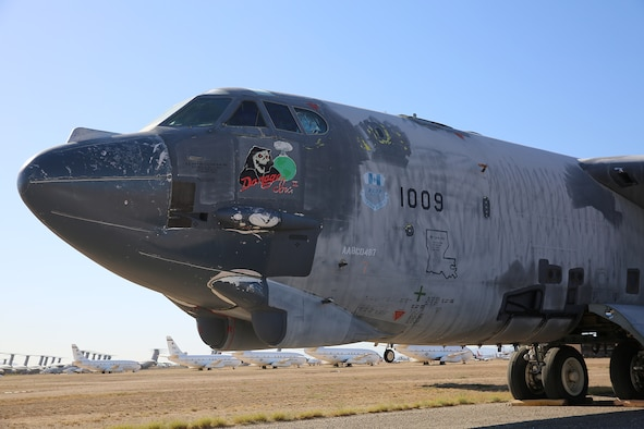 B-52H bomber, tail number 61-0009, in non-flyable status at the 309th Aerospace Maintenance and Regeneration Group or AMARG, at Davis-Monthan Air Force Base, Ariz. (Courtesy photo)