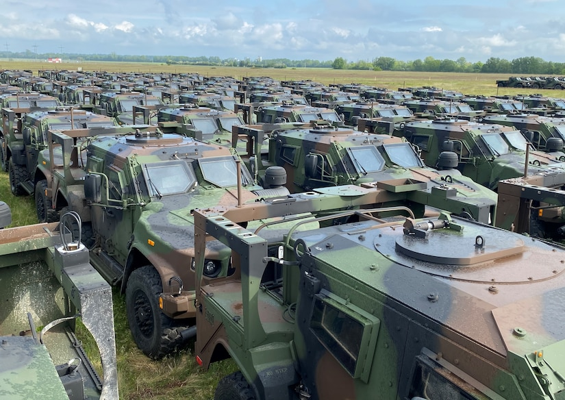 A formation of newly arrived Joint Light Tactical Vehicles lines up at Coleman worksite, assigned to the 405th Army Field Support Brigade's Army Prepositioned Stock-2 site there. More than 650 JLTVs are arriving to the APS-2 site in Mannheim, Germany, over the next few weeks. The Coleman APS-2 site is the first APS site in the world to receive the JLTVs, which are replacing the Army's Humvees.