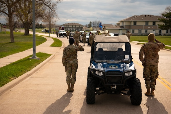Airmen from the 28th Security Forces Squadron participated in a 6.4K ruck march at Ellsworth Air Force Base, S.D., May 10, 2021.