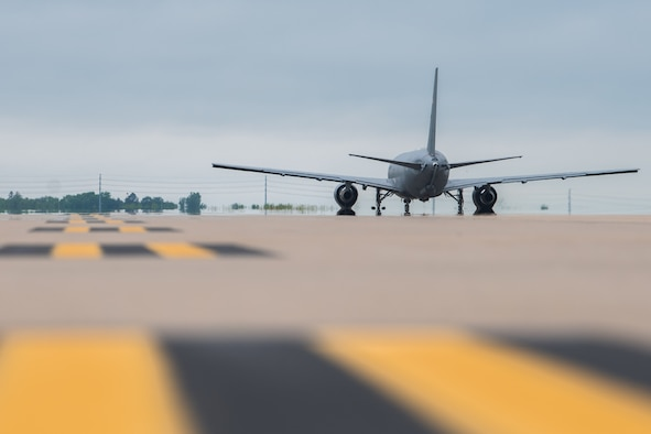 A KC-46A Pegasus, taxis to the runway May 17, 2021, at McConnell Air Force Base, Kansas. The KC-46 flew to a training area near Rapid City, S.D., where the crew worked jointly with a B-1B Lancer aircrew from the 37th Bomb Squadron, assigned to Ellsworth Air Force Base, S.D., to perform the first B-1 refueling for an operational B-1 unit and B-1 aircrew from Ellsworth and the KC-46. (U.S. Air Force photo by Senior Airman Alexi Bosarge)