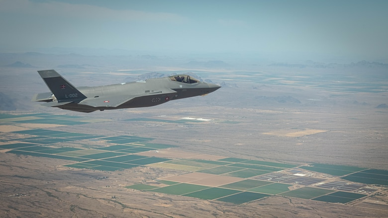 A Royal Danish Air Force F-35A Lightning II fighter jet assigned to the 308th Fighter Squadron at Luke Air Force Base soars over Bagdad, Arizona, May 5, 2021.