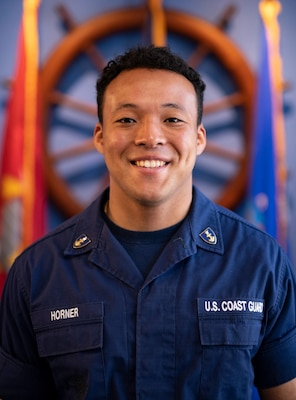 First Class Cadet Andre Horner, a native of Centerville, Virginia, is reporting to Coast Guard Cutter Midgett, a National Security cutter homeported in Honolulu, Hawaii. Horner is an Operations Research and Computer Analysis major and a linebacker for the Coast Guard Academy Bears football team. (U.S. Coast Guard photos by Petty Officer 3rd Class Matthew Thieme)