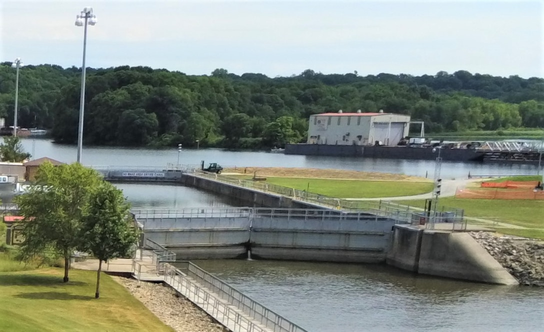 The auxiliary lock at Locks and Dam 14 on the Mississippi River in Pleasant Valley, Iowa.