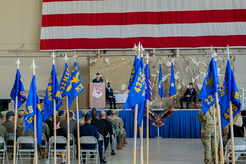 Col. Eric Schmidt address the crowd and gives his remarks at the 432nd Wing/432nd Air Expeditionary Wing change of command ceremony.