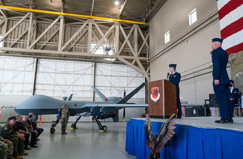 Col. Eric Schmidt receives his first salute during the Wing change of command ceremony.