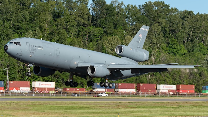 A KC-10 Extender from Travis Air Force Base, California, lands on the runway May 14, 2021 at King County International Airport-Boeing Field, Seattle, Washington.