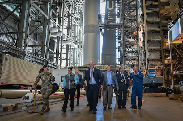 Acting Secretary of the Air Force John P. Roth, tours Cape Canaveral Space Force Station, Fla., May 17, 2021. During his visit, Roth toured several facilities at CCSFS and met with Airmen and Guardians supporting space launch operations. (U.S. Space Force photo by Airman 1st Class Thomas Sjoberg)