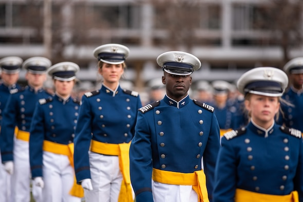 U.S. Air Force Academy -- Cadets march on to the terrazzo to start the U.S. Air Force Academy's Class of 2020 Graduation Ceremony at the Air Force Academy in Colorado Springs, Colo., April 18, 2020. Nine-hundred-sixty-seven cadets crossed the stage to become the Air Force/Space Force's newest second lieutenants. (U.S. Air Force photo/Ana Siqueiros)