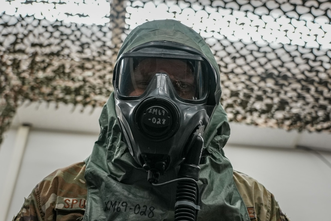 Airman wears protective face mask.