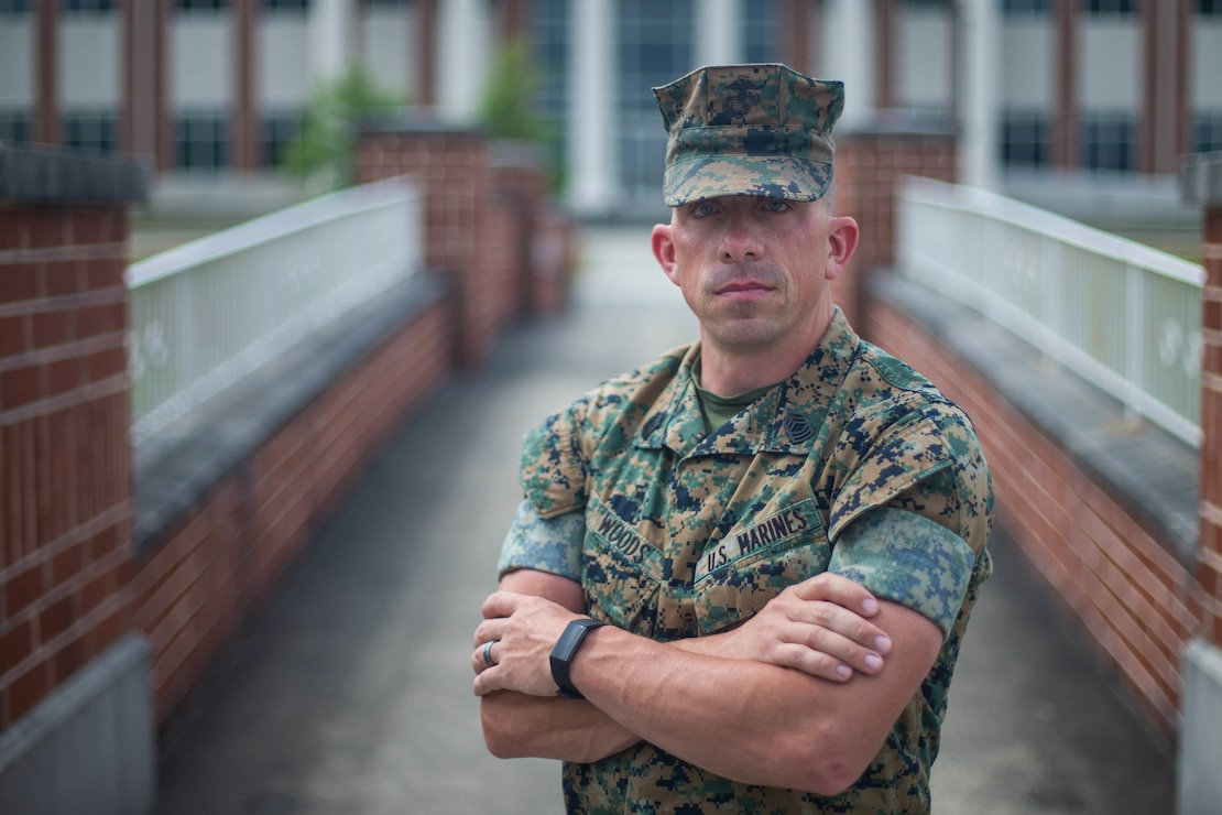 """Woods will be presented with the 2020 Enlisted Marine Safety Excellence Award due to his ability to consistently provide valuable feedback and assistance on ground safety programs to higher and adjacent commands with . """"Finding out that I was the recipient of this award gives me a sense of pride and accomplishment,"""" said Woods, a Lima, Ohio native. (U.S. Marine Corps photo by Cpl. Gavin Umboh)"""