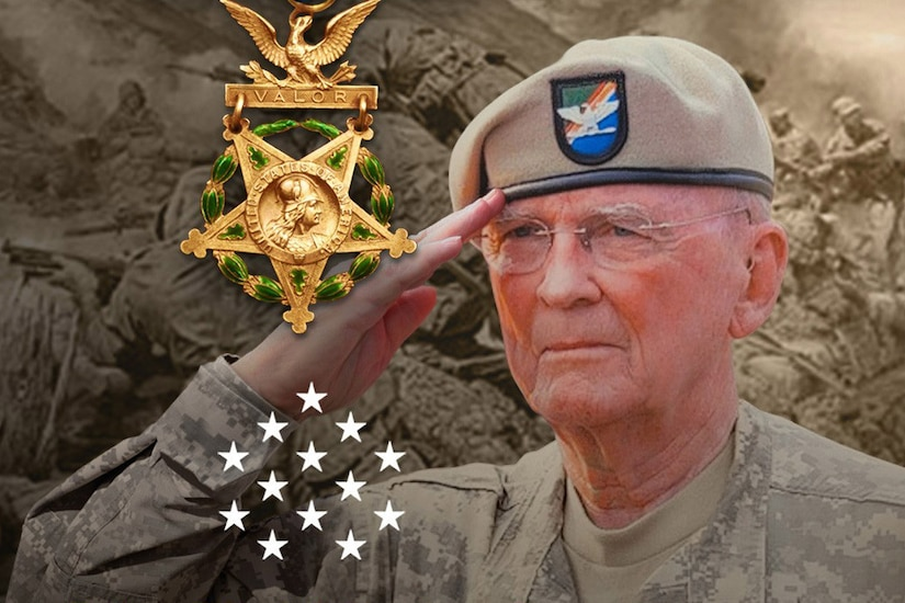 An older officer salutes with a Medal of Honor to his left.