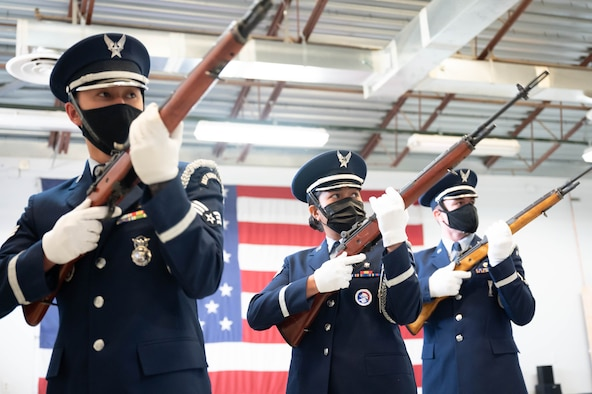 Airman 1st Class Cesar Tapia-Caballero, 341st Contracting Squadron contracting apprentice and current 341st Missile Wing Base Honor Guard honor guardsman, practices proper form while holding a ceremonial rifle April 13, 2021 at Malmstrom Air Force Base, Mont.