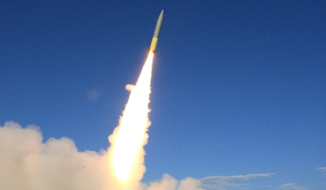 The U.S. Army Space and Missile Defense Command Technical Center's Targets Team launched a Pathfinder Zombie target May 19 from the Hebrides Range in Scotland during the ongoing At-Sea Demo/Formidable Shield 2021 exercise. The purpose of At-Sea Demo/Formidable Shield 2021, which includes approximately 10 nations participating with ships, aircraft, ground assets and deployed staff, is to improve allied interoperability in a joint live-fire Integrated Air and Missile Defense environment. USASMDC played a role in the exercise by internationally shipping a fully integrated round for the first time. (U.S. Army photo)