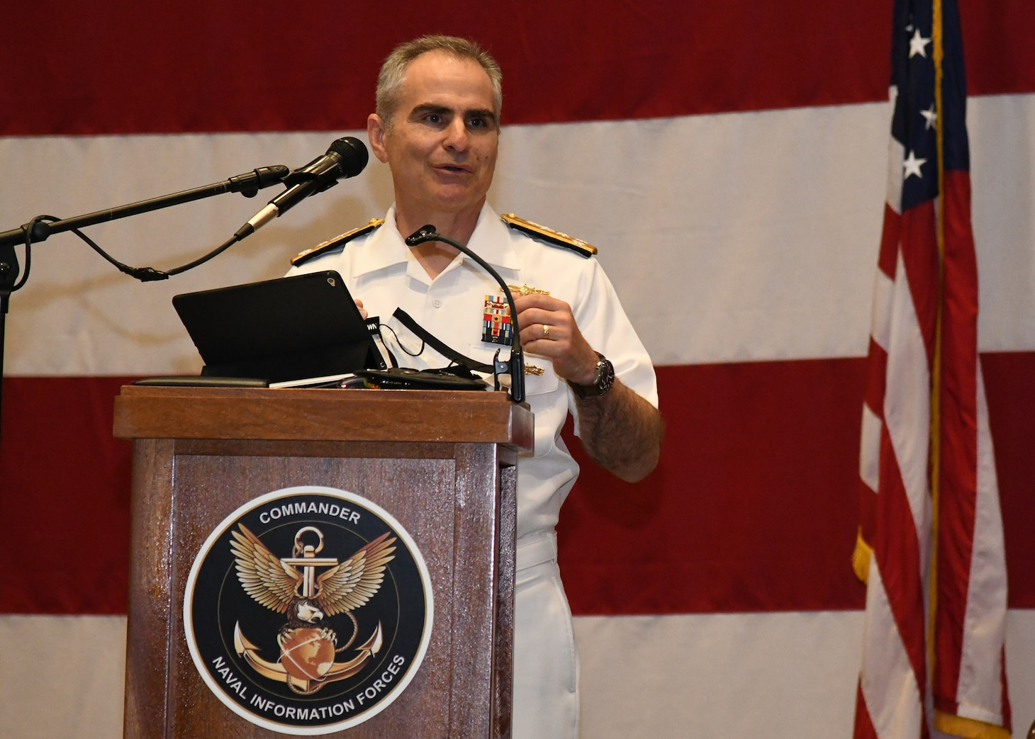 Vice Adm. Brian Brown gives his farewell speech during a change of command ceremony on May 7. (U.S. Navy photo by Robert Fluegel/RELEASED)