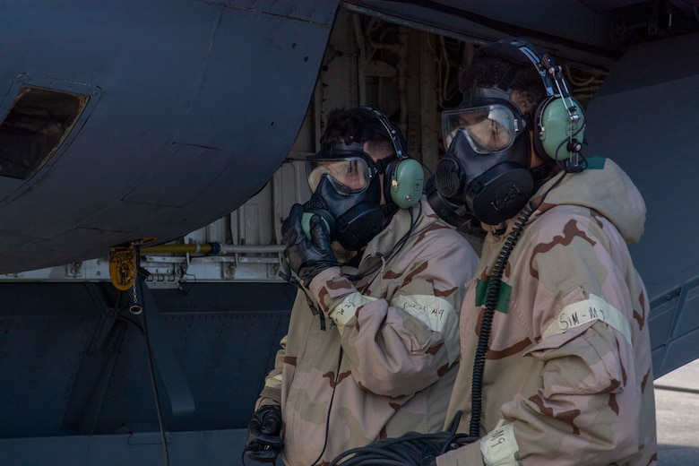 Maintainers with the 6th Aircraft Maintenance Squadron (AMXS) perform pre-flight inspections on a KC-135 Stratotanker at MacDill Air Force Base, Florida, during a large-scale readiness exercise (LRE), May 20, 2021. The 6th AMXS had a pivotal role during phase two of the LRE by continuing to provide mission support in a simulated contested environment. (U.S. Air Force photo by Airman 1st Class Hiram Martinez)