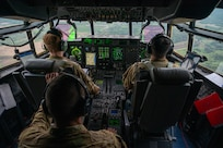Pilots from the 39th and 40th Airlift Squadrons fly a C-130J Super Hercules over Volk Field Air National Guard Base, Wisconsin, May 20, 2021. Mobility Guardian incorporates 1,500 personnel across the joint force and the robust integration of 18 mobility aircraft fighters, bombers, special operations forces and field artillery, dispersed in 6 locations simulating geographically-diverse operating locations to conduct all-domain operations against a highly-capable adversary. (U.S. Air Force photo by Senior Airman Aaron Irvin)
