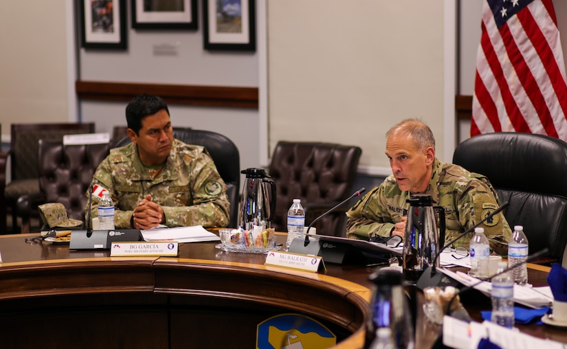 Maj. Gen. Daniel R. Walrath, U.S. Army South commanding general, and Brig. Gen. Christian Garcia, Peruvian military attaché, share a moment before the sixth annual U.S. Army-Peruvian Army Staff Talks, held at Joint Base San Antonio - Fort Sam Houston on May 20. The two armies discussed future bilateral training opportunities and other areas to improve interoperability between the two armies.