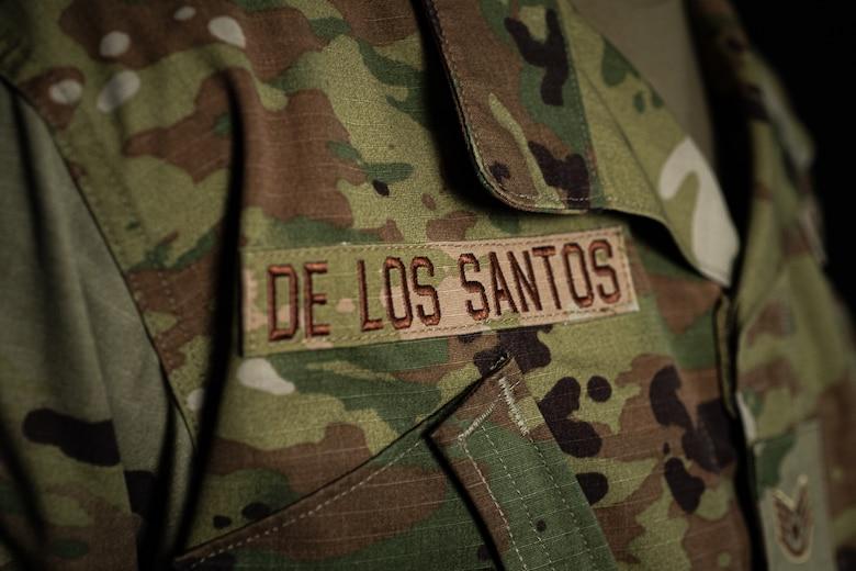 A photo of Staff Sergeant Cesar De Los Santos Zapata's name tape