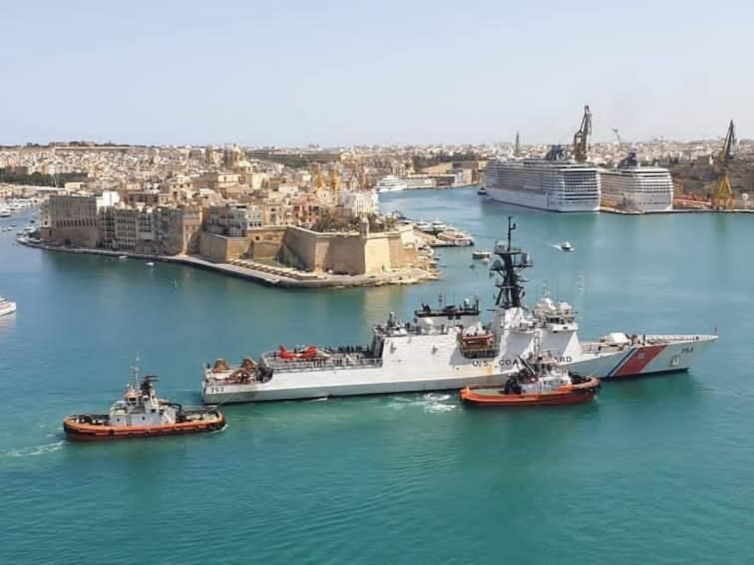 The Legend-class national security cutter USCGC Hamilton (WMSL 753) arrives in Valletta, Malta.