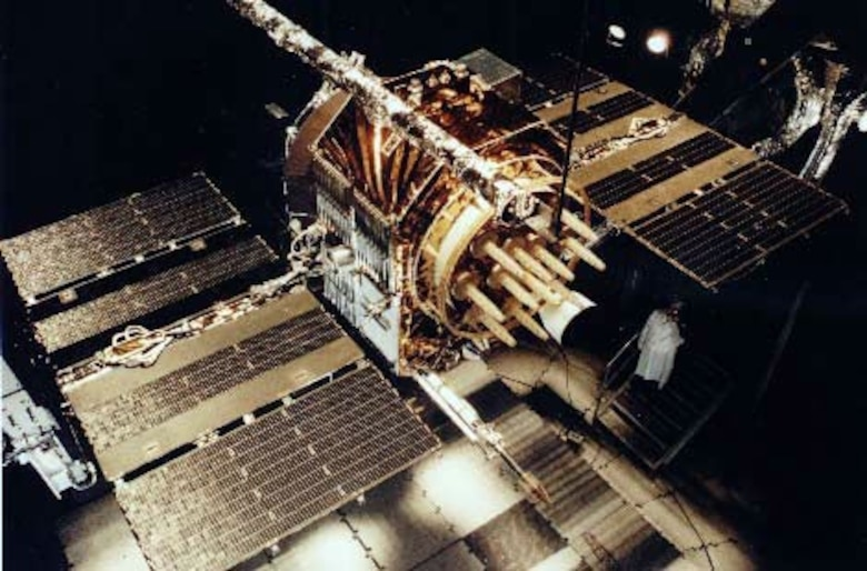 NAVSTAR Block II satellite, part of the Global Positioning System, undergoing Air Force testing. During Operation Desert Storm 16 NAVSTAR satellites were in orbit allowing receivers on the ground to have line of sight to at least three satellites enabling triangulation of position.
