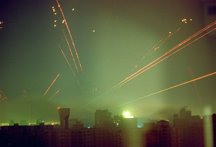 On the opening night of Operation Desert Storm in January 16, 1991, anti-aircraft fire lights up the sky over Baghdad, Iraq after the first F-117 Nighthawks hit their targets completely undetected.