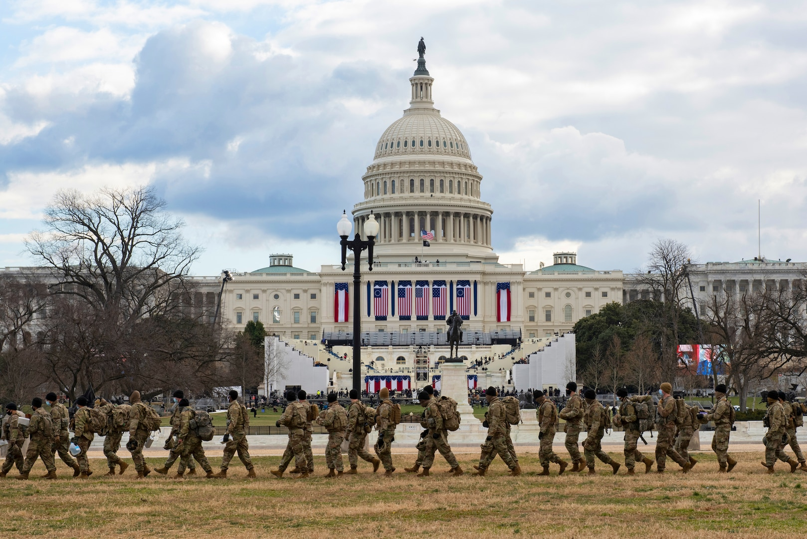 National Guard Soldiers provide security outside the U.S. Capitol during the 59th Presidential Inauguration Jan. 20, as part of the National Guard's Capitol Response security mission.