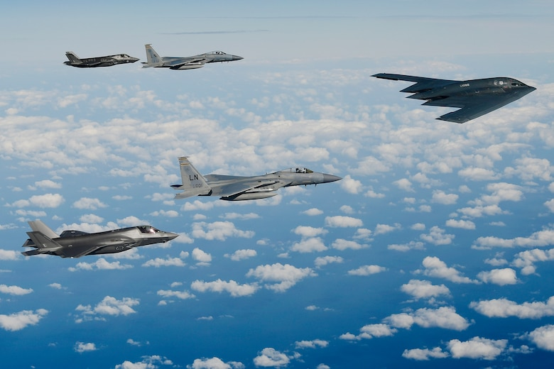 A B-2A Spirit bomber assigned to the 509th Bomb Wing leads a delta formation consisting of two F-15C Eagles assigned to the 48th Fighter Wing and two Royal Air Force F-35B Lightning IIs as they conduct aerial operations over the North Sea, Sept. 16, 2019. The 48th Fighter Wing and the Royal Air Force routinely train with integrated fourth and fifth-generation capabilities to deliver full spectrum air combat support to European allies and partners. (U.S. Air Force photo by Tech. Sgt. Matthew Plew)