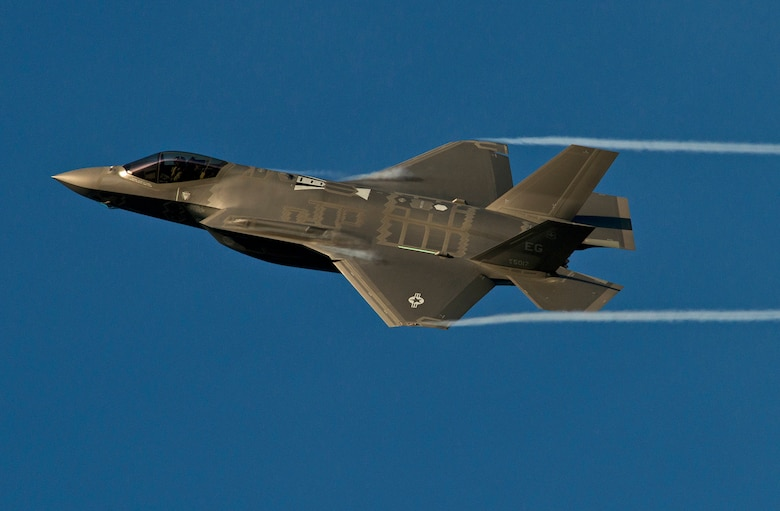 An F-35A Lightning II from the 33rd Fighter Wing streaks across the sky above Eglin Air Force Base, Fla. while coming in for landing after a training sortie. The 33rd Fighter Wing is responsible for F-35 A/B/C Lightning II pilot and maintainer training for the Marine Corps, the Navy, the Air Force and, in the future, at least eight coalition partners. Initially, 59 aircraft and three flying squadrons, one for each service/aircraft variant, will be established at Eglin. (U.S. Air Force photo/Tech. Sgt. Bennie J. Davis III)