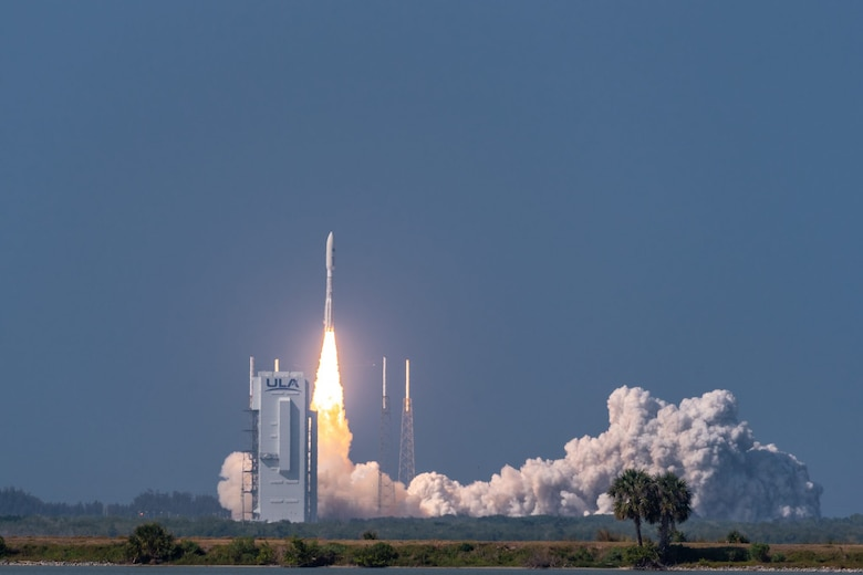An Atlas V AEHF-6 rocket successfully launches from Space Launch Complex-41 at Cape Canaveral Air Force Station, Fla., March 26, 2020. The launch of the AEHF-6, a sophisticated communications relay satellite, is the first Department of Defense payload launched for the United States Space Force.