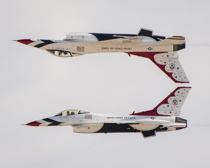 """The U.S. Air Force Air Demonstration Squadron """"Thunderbirds"""" conduct a practice performance, November 15, 2019 at Nellis Air Force Base, Nev., in preparation for the Aviation Nation air show. This show will mark the culmination of the Thunderbirds' 2019 show season."""