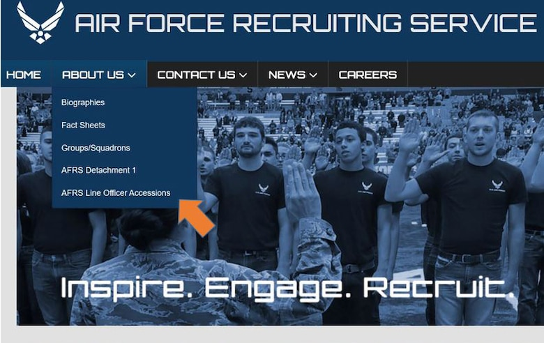 Specialists from Air Force Recruiting Service's line officer accessions program and the AFRS public affairs office teamed up to create a public page on the AFRS website that serves as a one-stop shop for line officer accession information. (Courtesy graphic)
