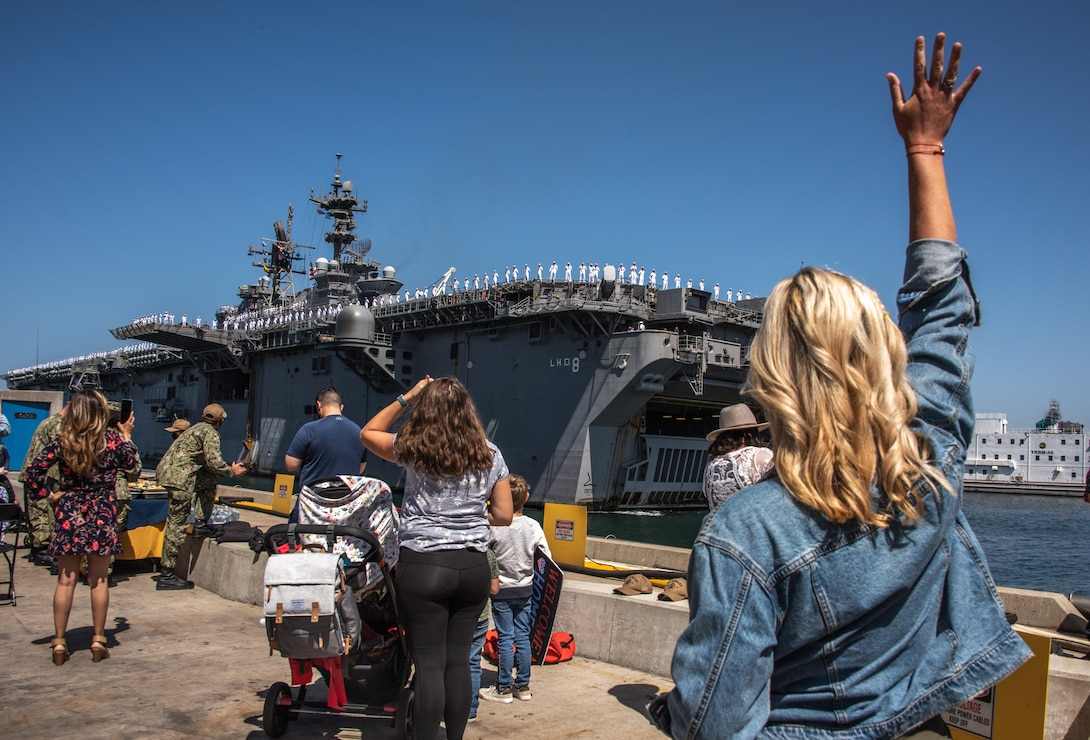 The amphibious assault ship USS Makin Island (LHD 8) returns to its homeport of Naval Base San Diego.