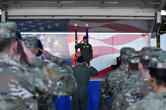 Col. Michael Alfaro, 4th Operations Group commander, receives his first salute as the 4th OG commander, during an assumption of command ceremony at Seymour Johnson Air Force Base, North Carolina, May 21, 2021. Alfaro is in command of 1,875 officer, enlisted, and civilian personnel.