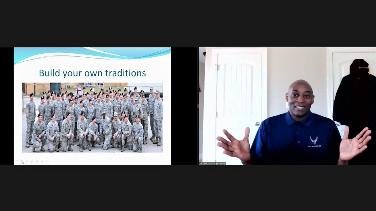 Screenshot image from Chief Master Sgt. Eric Smith, chief enlisted manager of command and special staff at Headquarters Air Force Reserve Command, Georgia, briefing Reserve Citizen Airmen and their loved ones on deployment-related resiliency skills during a virtual Yellow Ribbon event May 15, 2021.