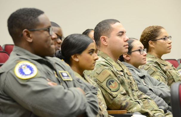 A group of Air Force mentors attend a training session given by Air Force Recruiting Service's Detachment 1 during an Aim High outreach event at Maxwell Air Force Base, Alabama, Nov. 15, 2019.