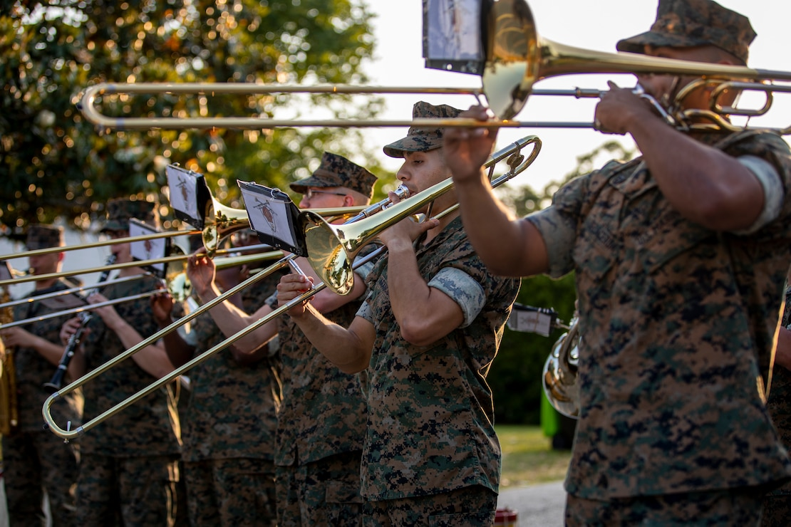 U.S. Marines with the 2d Marine Division Band perform on Camp Lejeune, N.C., May 20, 2021. The band performed several neighborhood concerts in the month of April and May to enhance the sense of community within Camp Lejeune. (U.S. Marine Corps photo by Lance Cpl. Jacqueline Parsons)